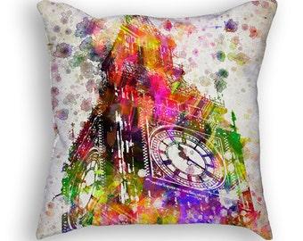 Big Ben, London, England Throw Pillow, 18x18, Cushion Home Decor, Gift Idea, Pillow Case