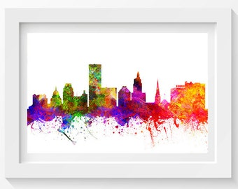 Providence Rhode Island Skyline In Color Poster, Home Decor, Gift Idea 02
