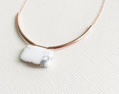 MIES necklace - white marble howlite pillow