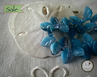 Placid Blue Leaf Beads Blue Glass Beads Placid Blue Leaf Czech Glass Beads Czech Glass Leaf Bead Blue Leaf (20pcs)