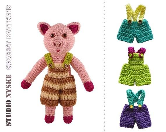 Amigurumi Clothes Pattern : Pig amigurumi PATTERN crochet soft toy pdf small by ...