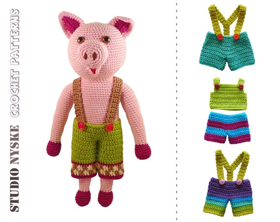 Pig crochet PATTERN dress up doll DAD LARGE animal by ...