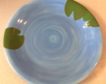 Summer Storm Design Blue Water Lily Pad Dinner Plate