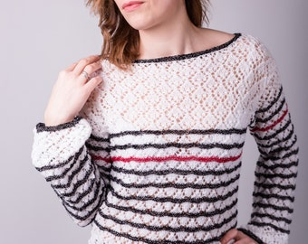 Hand knitted women's long sleeve lace blouse for summer   Size M-L