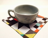 Cloth Beverage Napkins | Geometric Art Shapes | Set of 4