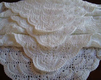 White Lace Crochet Hand-made Acrylic Baby Blanket/Afghan/Lapghan    Ready to Ship