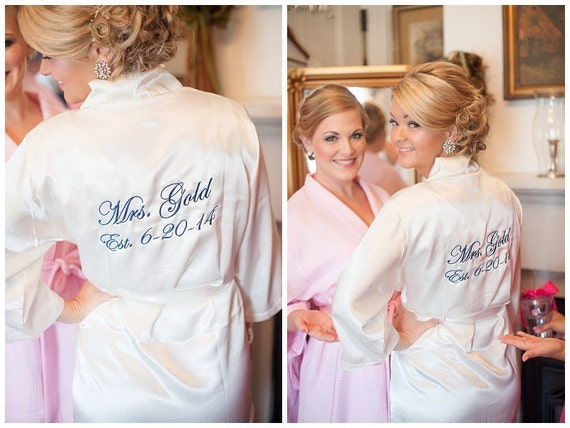 Bridal Party Robes Set Of 6 Silk Embroidered Robes Bridal