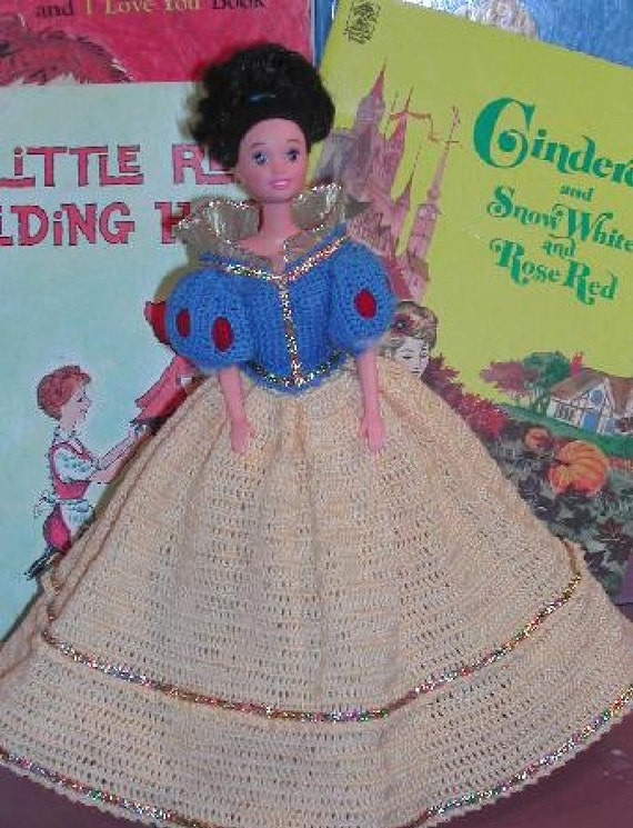 Free Crochet Pattern For Snow White Dress : Crochet Fashion Doll Barbie Pattern 161 SNOW WHITE