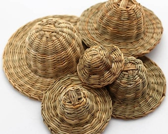 Braided straw hats. Set of five.