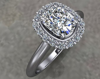 Cushion Cut Diamond Halo and 18K White Gold Engagement Ring