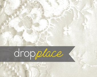 Durable Matte Vinyl Backdrop Wedding Drops White Lace Pearls Background Floor Drop Bridal Photo Booth Photo Prop (Multiple Sizes Available)
