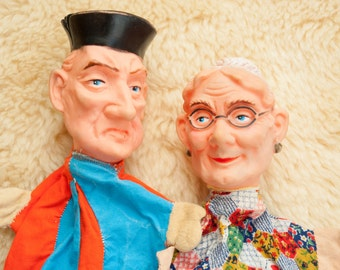 Two vintage handpuppets old man and woman - Punch and Judy - grandma and grandpa - puppet show- retro puppet theatre- hand puppet fairy tale