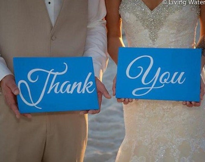 Thank You Wedding Signs Blue and White Wedding Decor, Valentines day gift idea