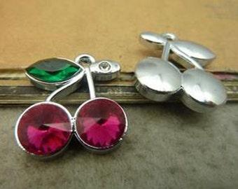 5pcs  Antique Silver Lovely Cherry  Charms Pendant. c5333