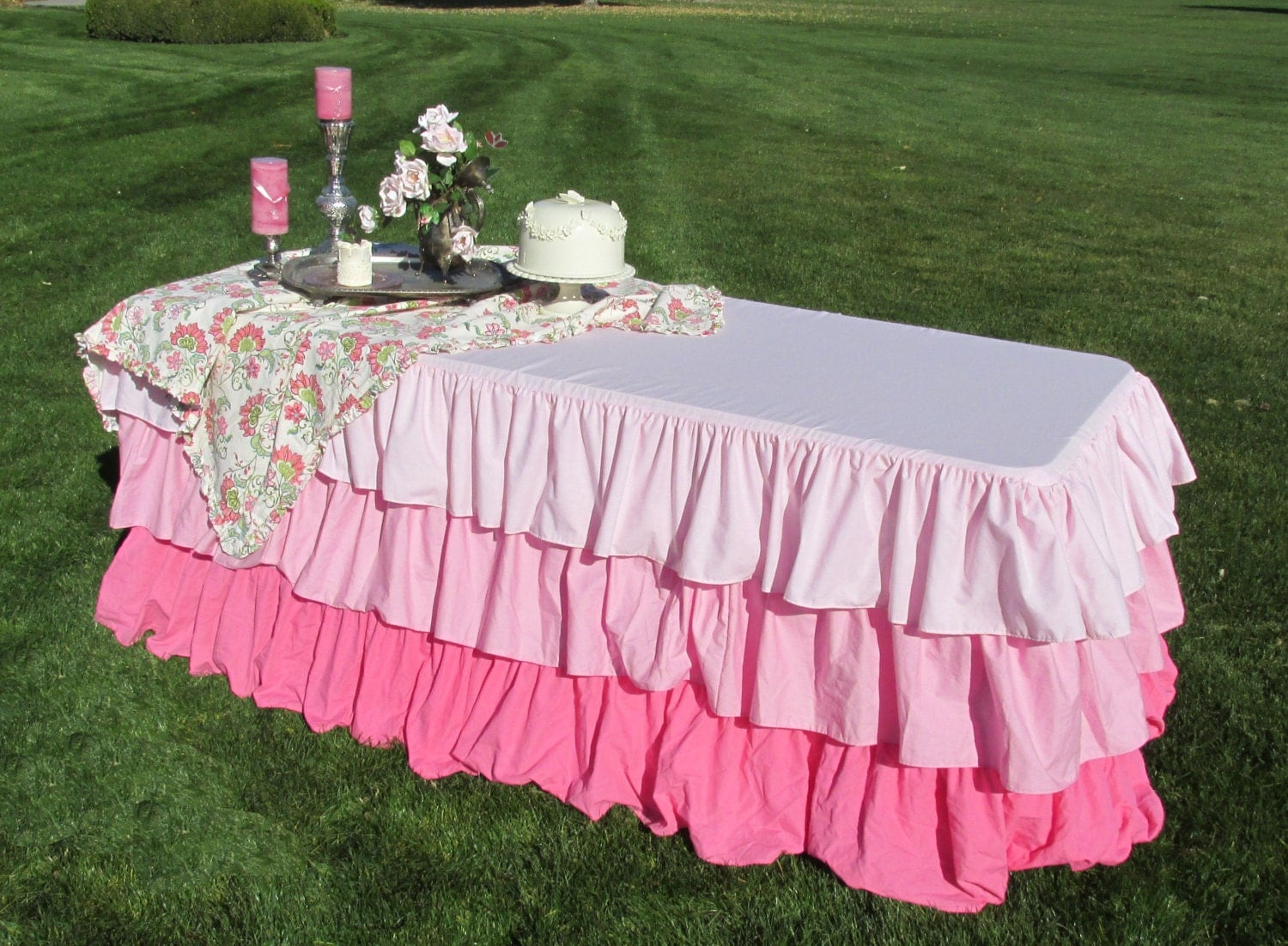 Ombre Ruffled Tablecloth-Pink Wedding Decor Baby Shower Ruffled Tablecloth