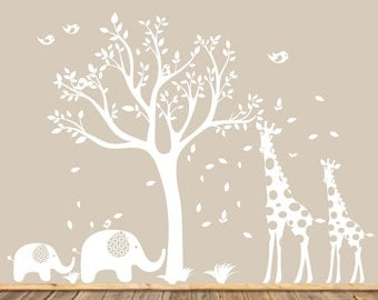 White Nursery Tree Decal, Animal Nursery Art, Baby Nursery Tree, Gender Neutral Nursery Tree, Modern Wall Art, Giraffe and Elephants