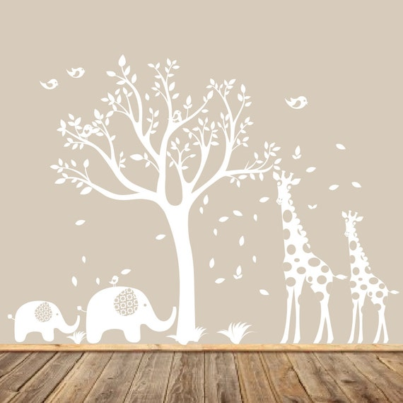 White Nursery Tree Decal Animal Nursery Art Baby Nursery