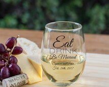 Set of 36 Personalized Wine Glasses Eat Drink Be Married 9oz - Stemless Wine Glass Favors - Wedding Favors - Wedding Favor Ideas