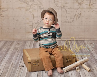 Photography Backdrop Old Map, Newborn Photography Backdrop, Vinyl Photography Backdrop, Baby Photography Backdrop for Boys - CTP122