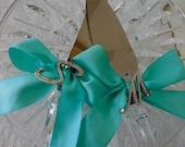 Cake Serving Set, Custom Wedding, Rhinestone Initials, Satin Ribbon