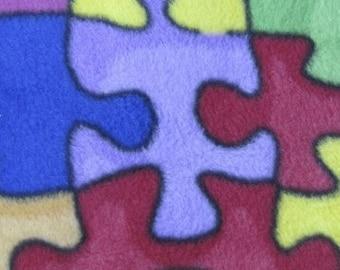 Polar fleece Multicoloured Jigsaw per metre - FREE shipping