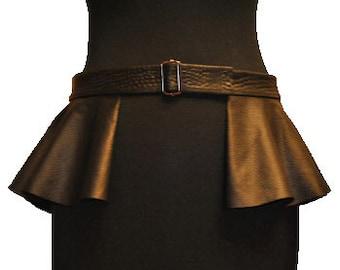 Black Leather Peplum Skirt Waist Belt