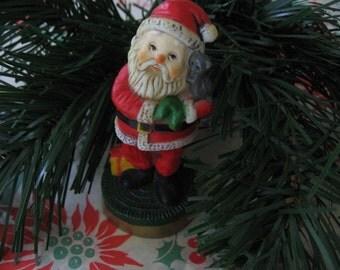 Vintage Hallmark Christmas Miniature Figurine Santa with Kitten Plastic 1970's