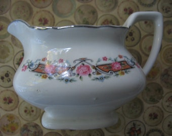 Vintage White China Creamer Square Shape Scalloped Edge Art Deco Decal 1940's