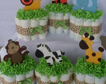 Set of 6 Mini Jungle Diaper Cakes,Safari Diaper Cake, Safari Baby Shower Centerpiece,Gender Neutral Diaper Cakes,Gender Neutral Baby Shower,