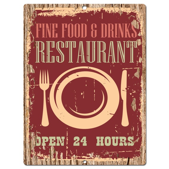PP0392 Old Rust Open 24 Hours RESTAURANT Plate Sign By