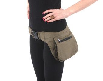 VEGAN Pocket Belt - Single  Hip Canvas Waist Pouch Utility Bag in Dark Green. Great for Party, Festival, Burning Man, psy trance, rave