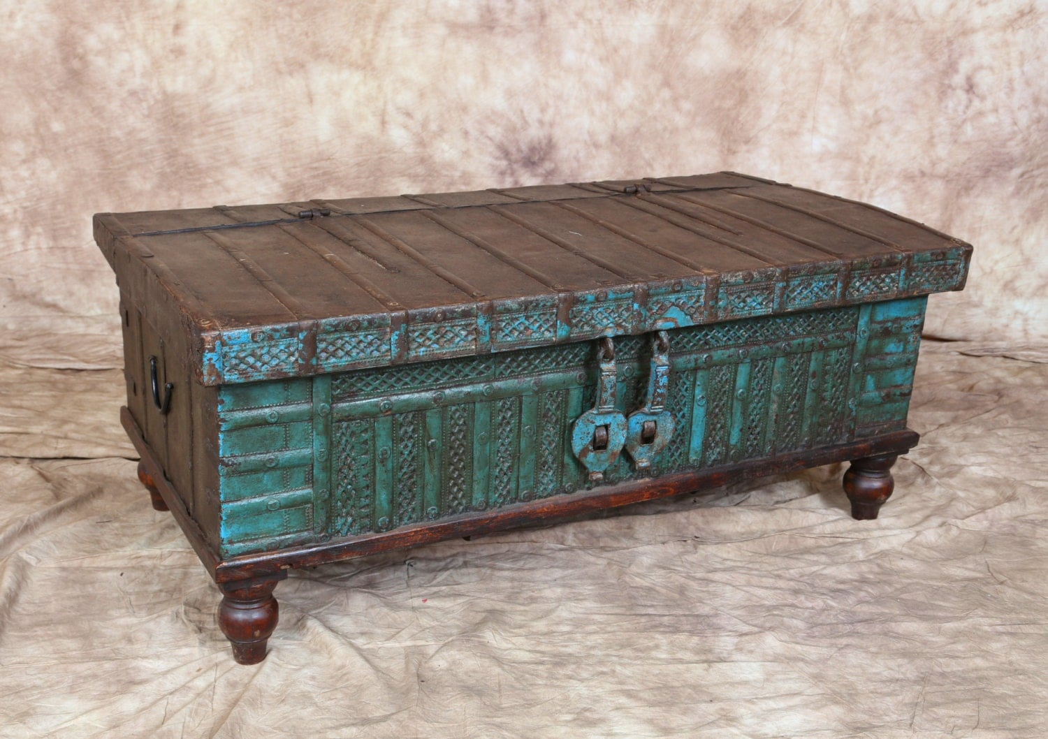 Antiqueteal blue indian trunk coffee table metal latch storage haute juice Indian trunk coffee table
