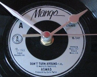 "Aswad don't turn around 7"" vinyl record clock"