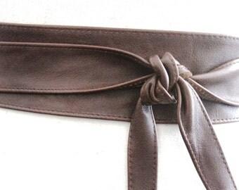 SALE Distressed Dark Brown Narrow Obi Belt  | Waist wrap Belt | Leather tie thin belt | Coat Belt| Plus size belt