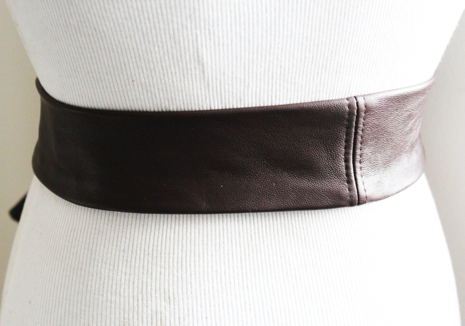 brown soft leather coat tie belt leather narrow