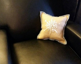 One of a Kind Burlap pillow with button design