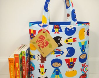 Superhero Tote Bag, Mini Tote Bag, Boys Bag, Toddler Tote Bag, Boys Tote Bag, Superhero Tote Bag, Kids Tote Bag