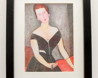 390 - Print with frame, Amedeo Modigliani, Christmas present, Wall art, Grandmother gift, Friends present, Famous portrait, Beautiful gift