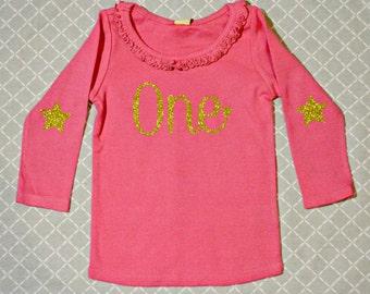 Twinkle Little Star Birthday Shirt    Fuschia/Gold Glitter