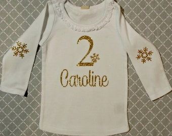 Snowflake Birthday Shirt White with Old Gold Glitter