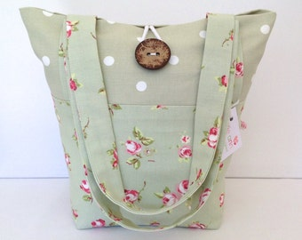 Sage Rosebud and Dotty Tote Bag, Small Lunch Bag, Small Tote Bag