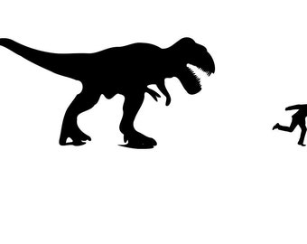 Wall Stencil T Rex and Running Man Stencil, in reusable Mylar