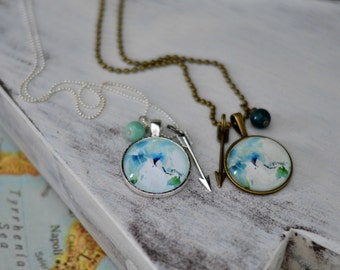Watercolor Globe Necklace {Asia & Australia}