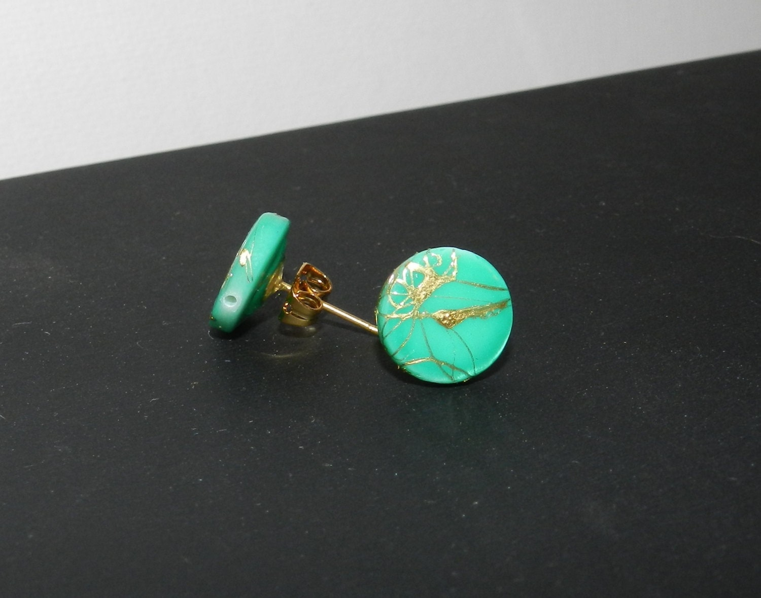 Green Paint Splattered Earrings A01322 by 3AnimalsAccessories