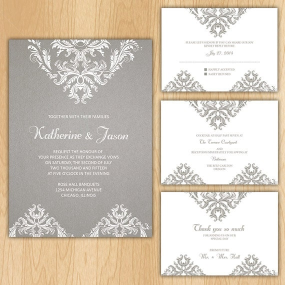 Vintage Floral Wedding Invitation Package Printable Digital