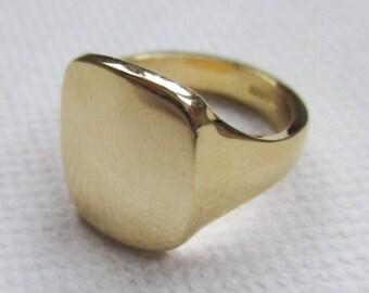 Gold Cushion signet ring large