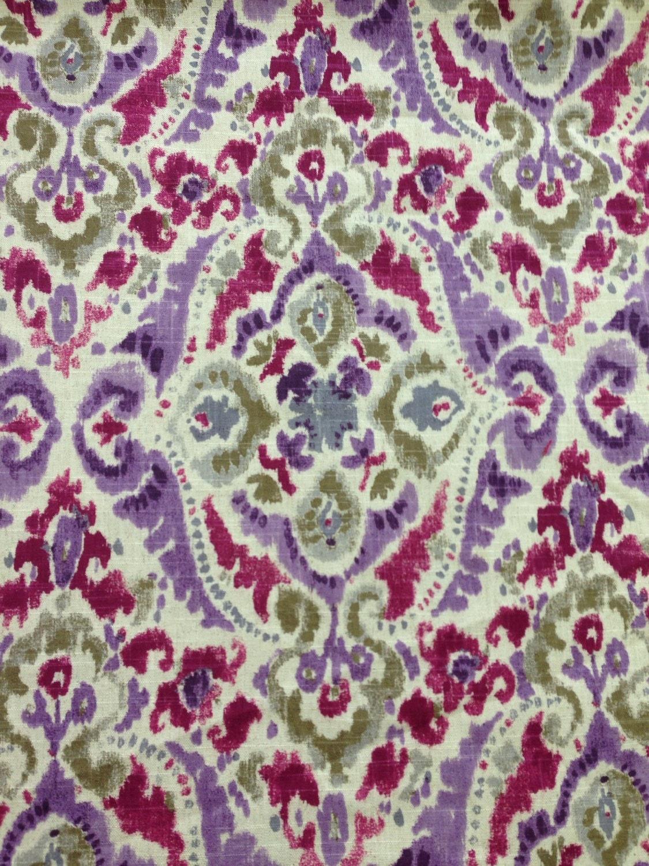 Modern ikat purple green plum upholstery fabric by for Purple upholstery fabric