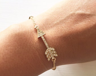 Crystal Beaded Accent Arrow Bracelet