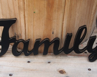Hand-painted shabby chic wooden FAMILY sign