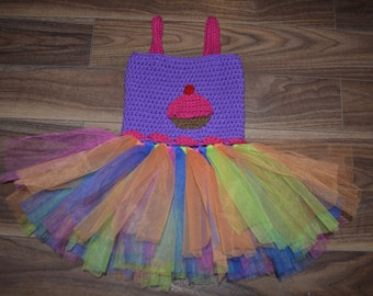 24 Month or 2T Cupcake Tutu Dress, Birthday Dress, 2nd Birthday, TuTu Dress, Ready to Ship